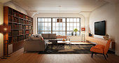 Digitally generated elegant and modern loft interior scene (living room).\n\nThe scene was rendered with photorealistic shaders and lighting in Autodesk® 3ds Max 2016 with V-Ray 3.6 with some post-production added.