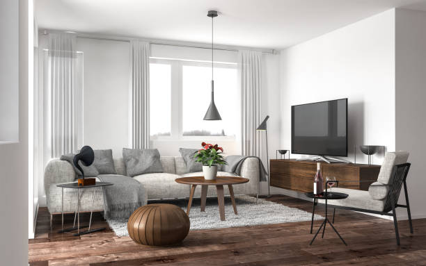 modern living room - nelleg stock photos and pictures