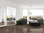 Modern living room with closed terrace. Render image.