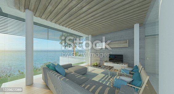 Modern living room with pool and sea views, big window ,3d render