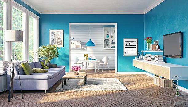 moderne wohnzimmer  - französische häuser stock-fotos und bilder