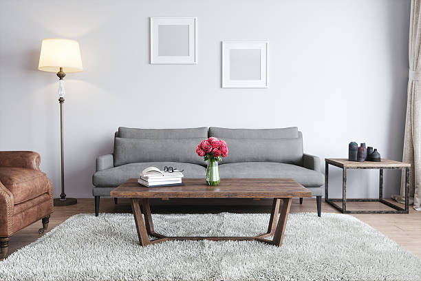 modern living room - retro decor stock photos and pictures