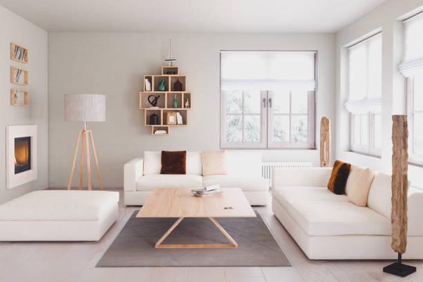 moderne wohnzimmer - gardinen weiß stock-fotos und bilder