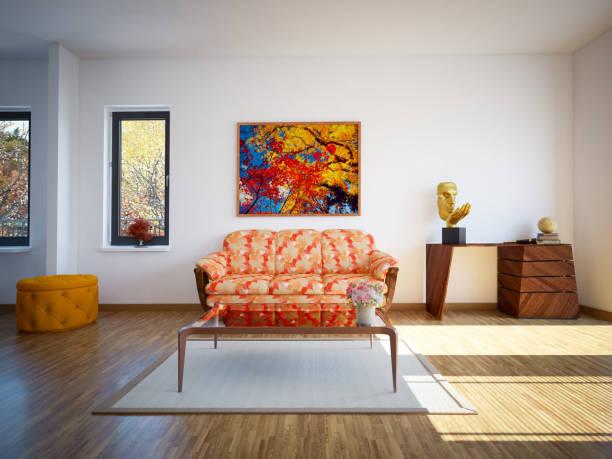 moderne wohnzimmer - fensterdeko herbst stock-fotos und bilder