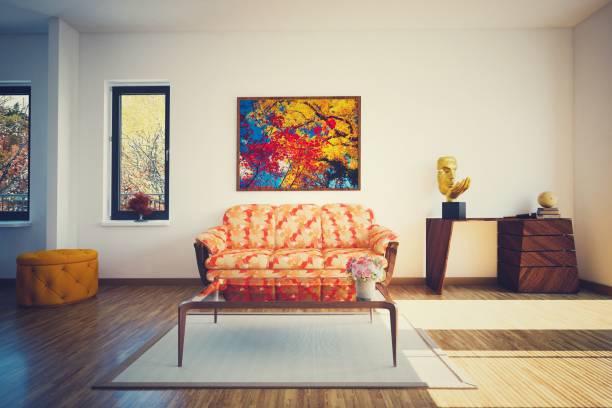 modernes wohnzimmer (getönten bild) - fensterdeko herbst stock-fotos und bilder