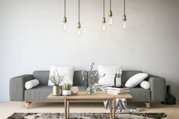 moderne salle de séjour - architecture intérieure beton photos et images de collection