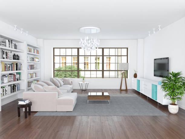 moderne wohnzimmer  - große wohnzimmer stock-fotos und bilder