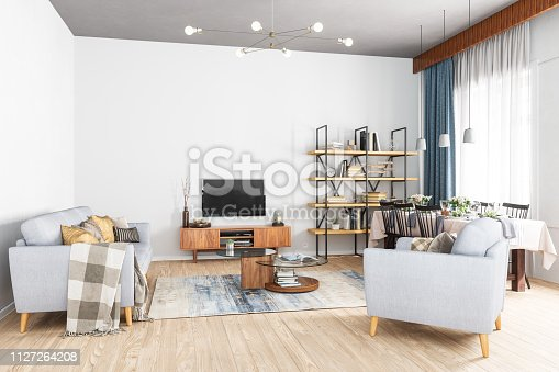 Modern Living Room, Smart Tv and Dining Room