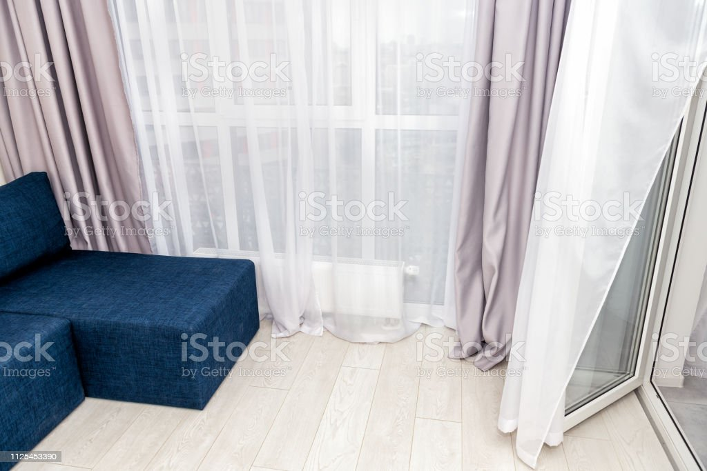 Modern Living Room Sofa With Window Blinds Curtains High ...