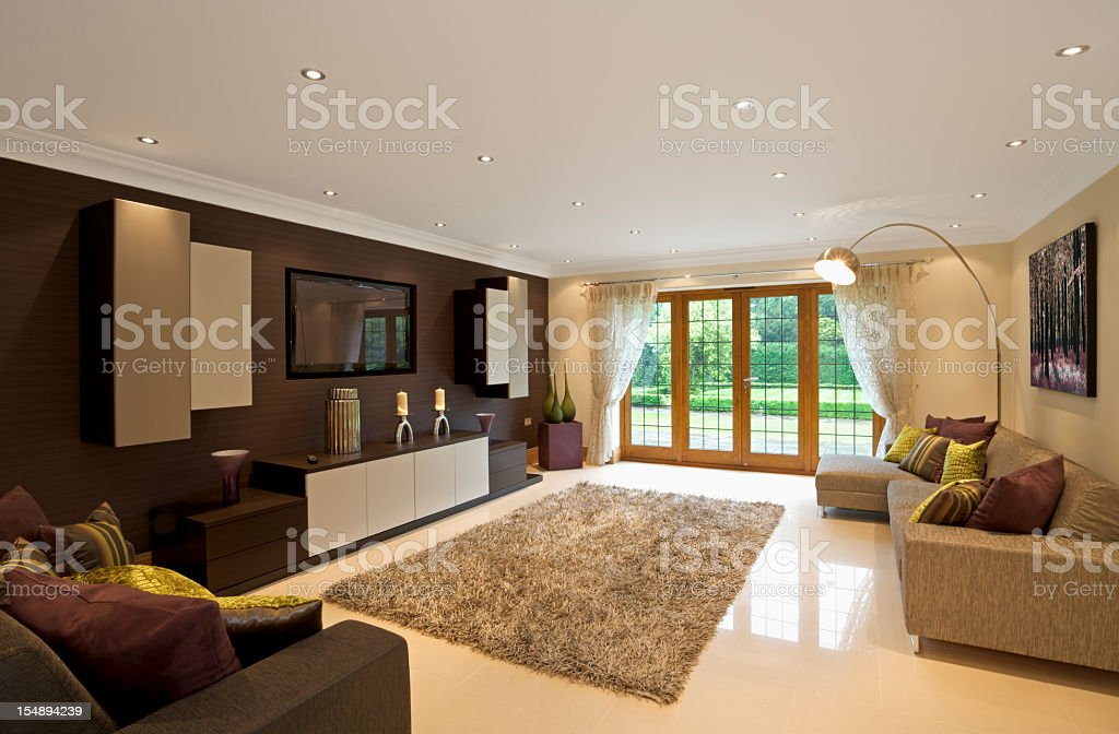 Modern Living Room Space With Purple Green And Brown Decor ...
