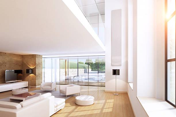 moderne wohnzimmer sommer scence - kamin weiß stock-fotos und bilder