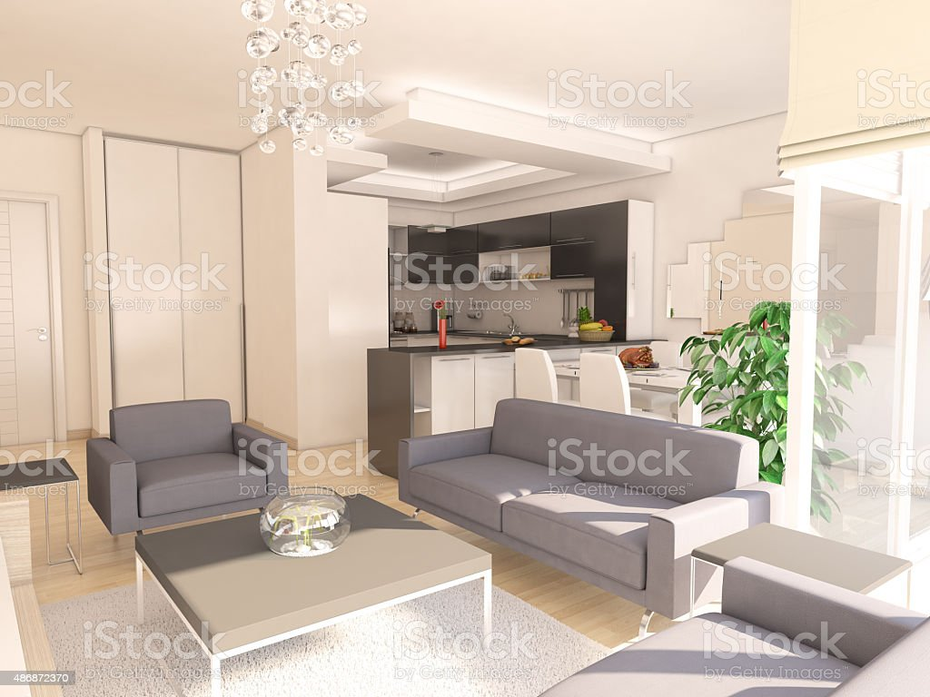 American kitchen and living room - Modern Living Room With American Kitchen Royalty Free Stock Photo