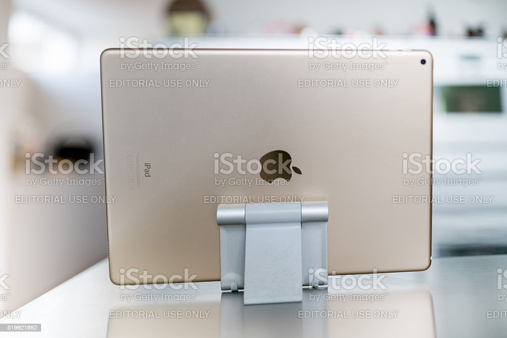 Modern Living Room with Apple iPad Pro Gold stock photo
