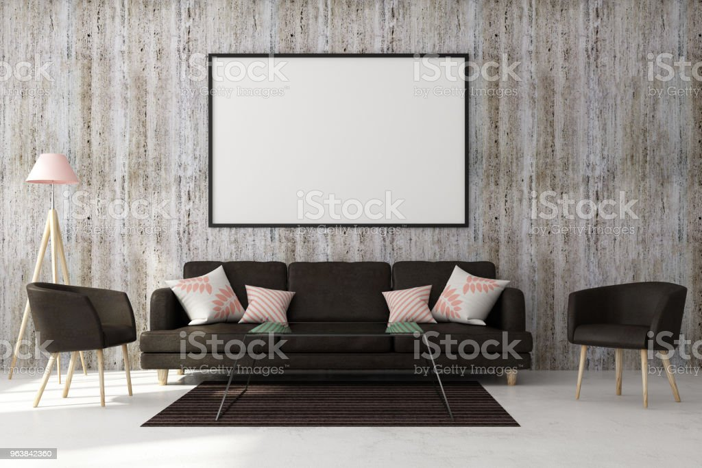 Modern living room with banner - Royalty-free Apartment Stock Photo