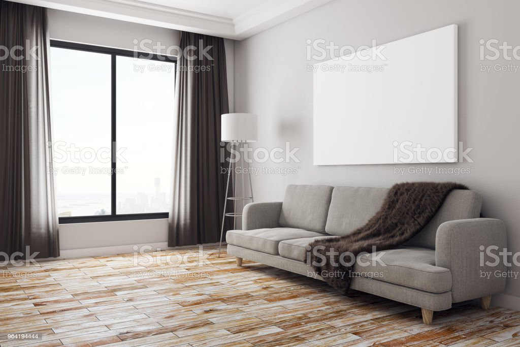 Modern Living Room With Banner Side Stock Photo - Download Image Now
