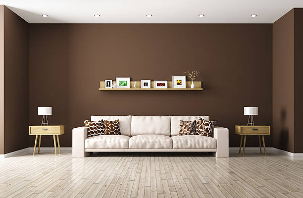 modern living room with beige sofa 3d rendering - brown stock pictures, royalty-free photos & images