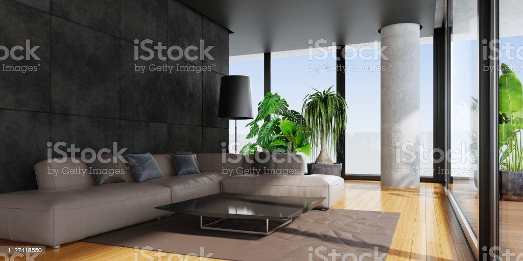 Modernes Wohnzimmer Mit Großen Panoramafenstern Und Bambusboden ...
