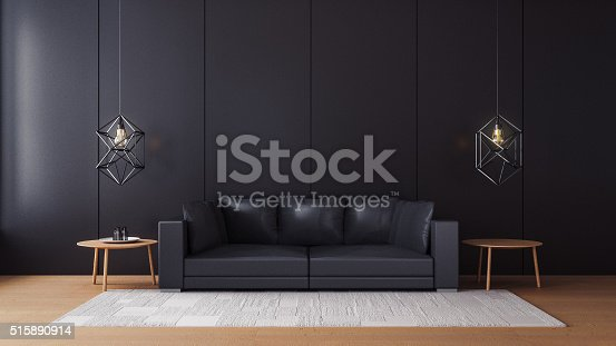 istock Modern  living room with black wall 515890914