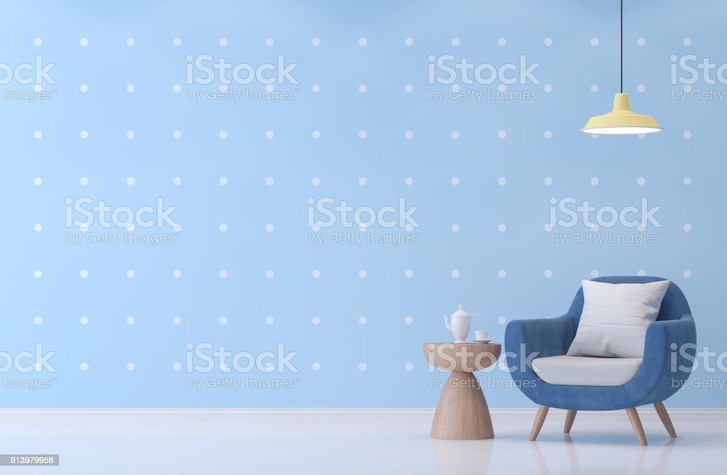 Modern living room with blue and white dot wallpaper 3d rendering image. stock photo