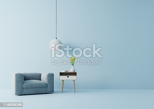 istock Modern living room with blue armchair have cabinet and lamp 1146836268