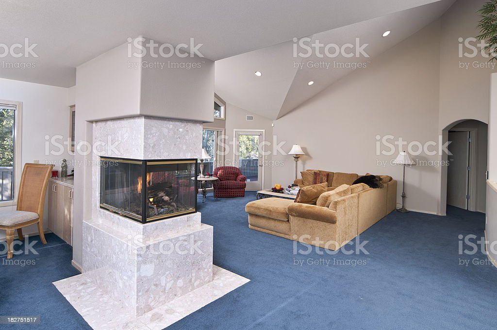 Modern Living Room With Blue Carpet Stock Photo & More Pictures of ...