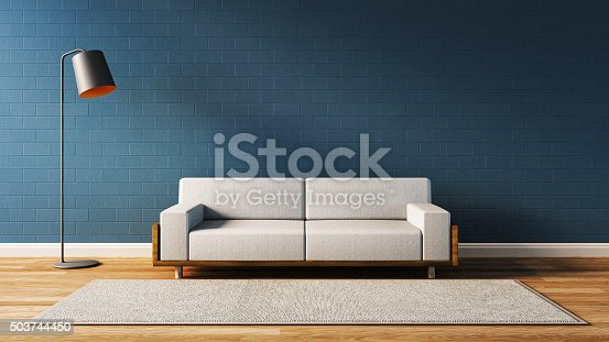 istock Modern  living room with blue wall 503744450