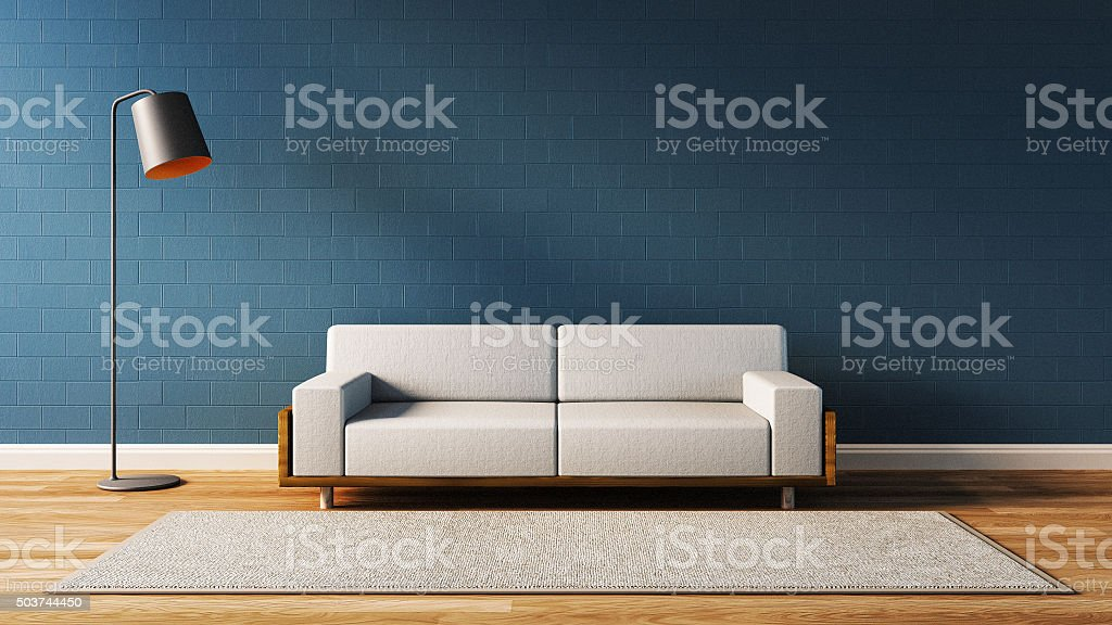Modern  living room with blue wall stock photo