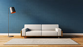 Modern  living room with blue wall