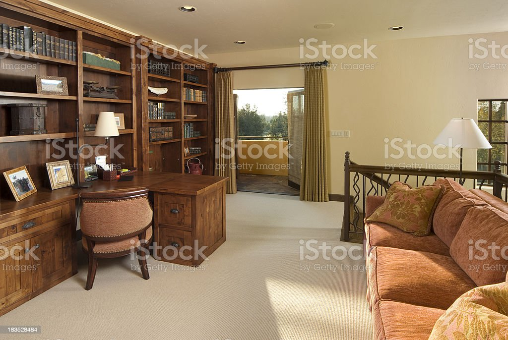 Modern living room with bookselves royalty-free stock photo