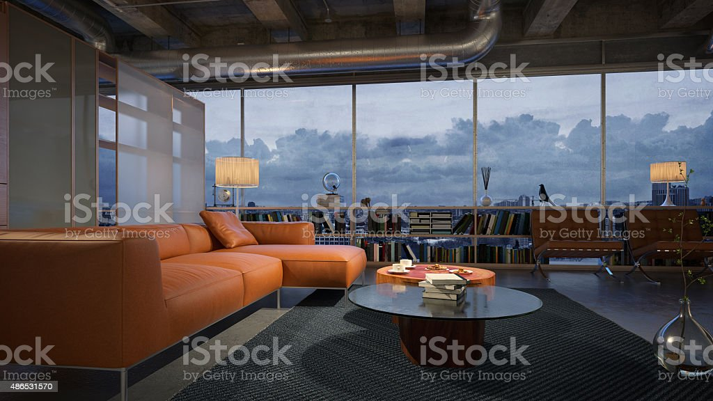 Modern living room with breathtaking night view stock photo