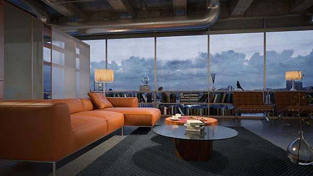 Moderna sala de estar com vistas de tirar o fôlego, vista noturna - foto de acervo
