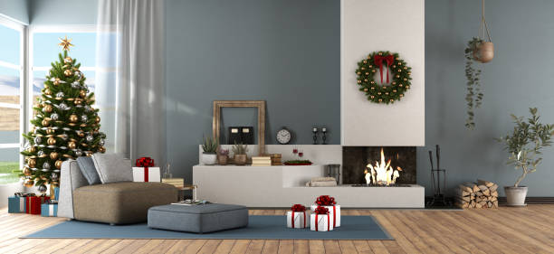 Modern living room with Christmas ornament stock photo