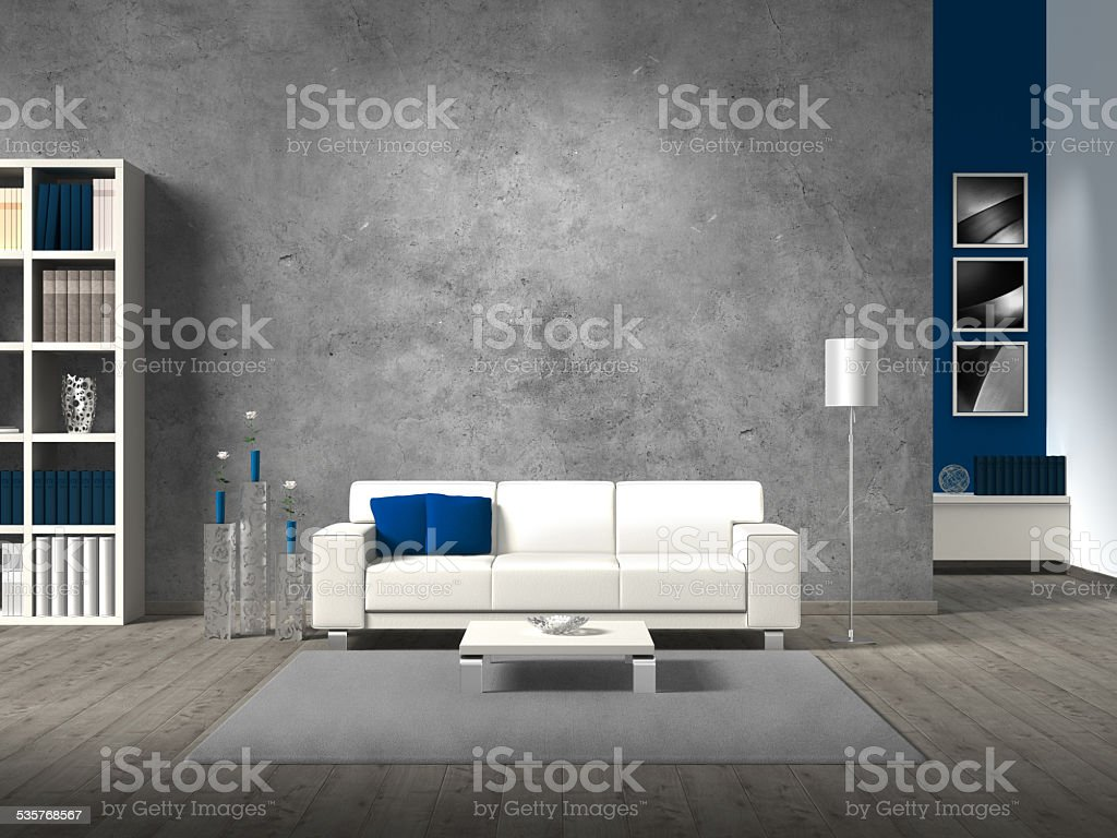 modern living room with concrete wall stock photo