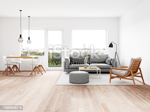 Modern living room with dining room. Render image.