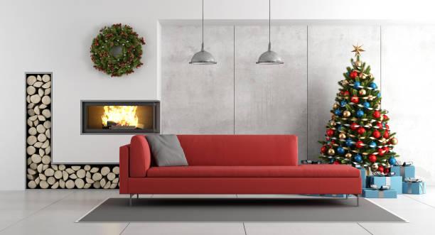 modernes wohnzimmer mit kamin und weihnachtsbaum - kamin weiß stock-fotos und bilder