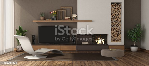 Modern living room with fireplace ,chaise lounge and tv set 3d rendering Note: the room does not exist in reality, Property model is not necessary