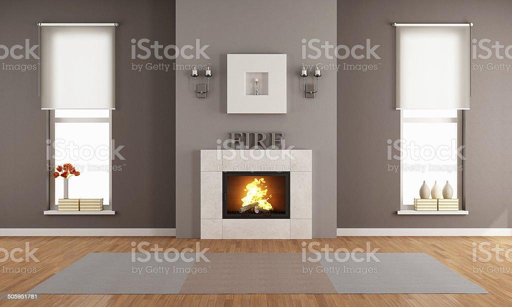 Moderne Wohnzimmer Mit Kamin Stockfoto und mehr Bilder von Boden ...