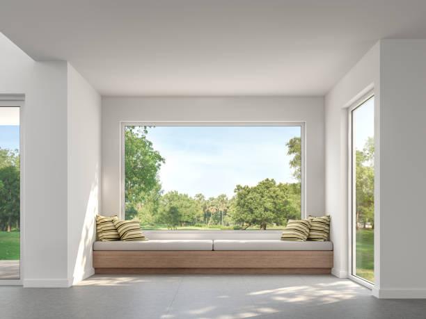 Modernes Wohnzimmer mit Gartenblick 3d render – Foto
