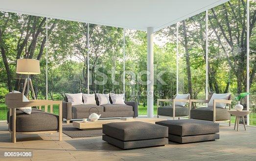 istock Modern living room with garden view 3d rendering Image. 806594086