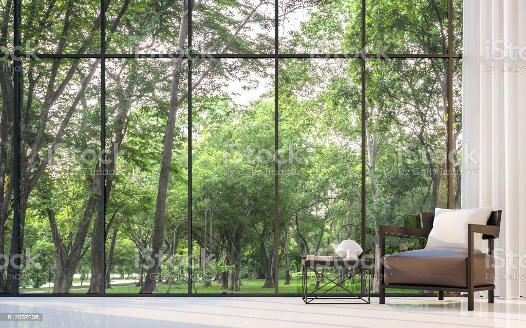 Modernes Wohnzimmer Mit Blick Auf Den Garten 3D Rendering Bild Lizenzfreies  Stock Foto