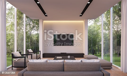 1066863894 istock photo Modern living room with garden view 3d rendering Image 812037264