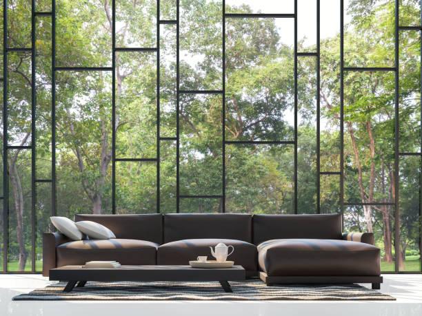 modernes wohnzimmer mit blick auf den garten 3d-rendering bild - gartenillustration stock-fotos und bilder