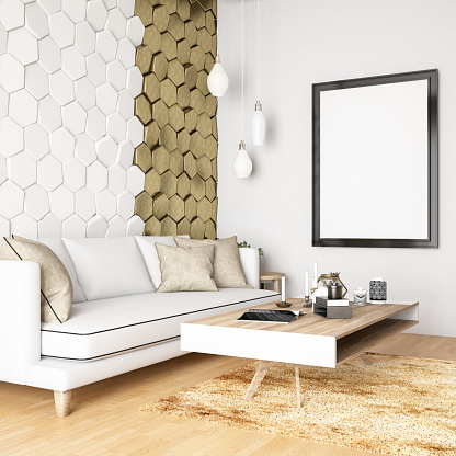 istock Modern Living Room with Geometric Golden Wall 1064321400