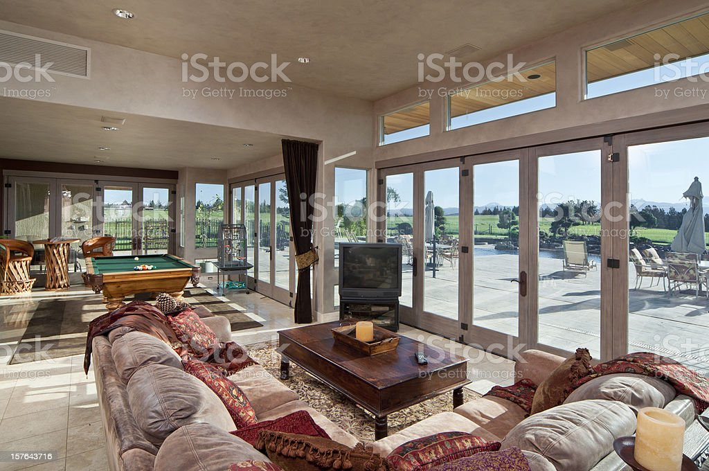 Modern living room with great view stock photo