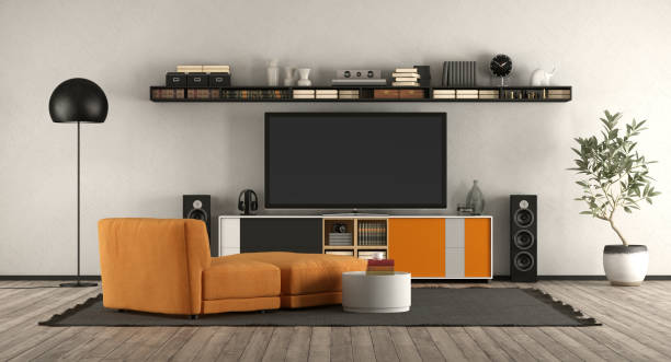 Modern living room with home cinema equipment - foto stock