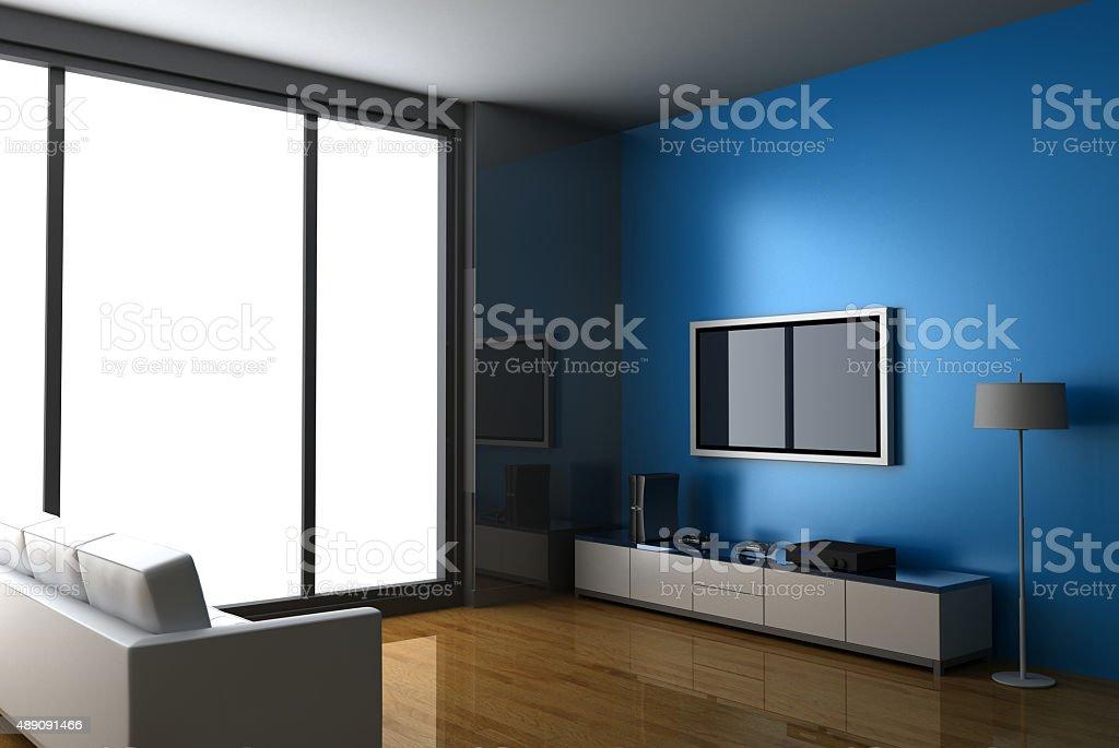 Moderne Wohnzimmer Mit Heimkino Lizenzfreies Stock Foto