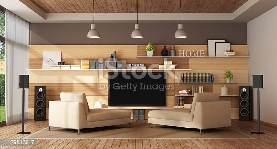 Large living room with home cinema system - 3d rendering Note: the room does not exist in reality, Property model is not necessary