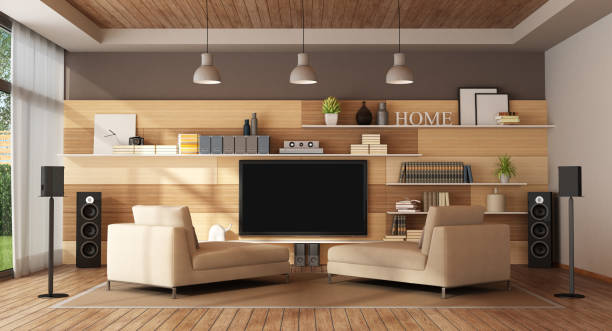 Modern living room with home cinema system - 3d rendering - foto stock