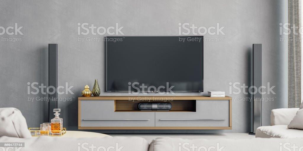 Moderno salón con sistema de entretenimiento doméstico - foto de stock