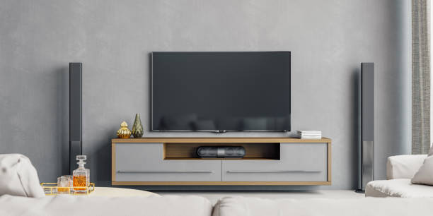 Modern Living Room With Home Entertainment System stock photo